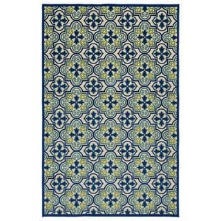 """Indoor/Outdoor Luka Blue Tile Rug - 8'8"""" x 12'"""