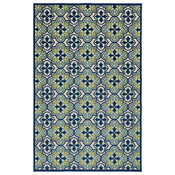 Indoor/Outdoor Luka Blue Tile Rug (8'8 x 12'0)