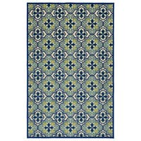 "Indoor/Outdoor Luka Blue Tile Rug - 8'8"" x 12'"