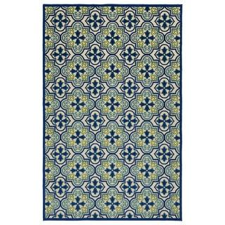 Indoor/Outdoor Luka Blue Tile Rug - 8'8 x 12'0