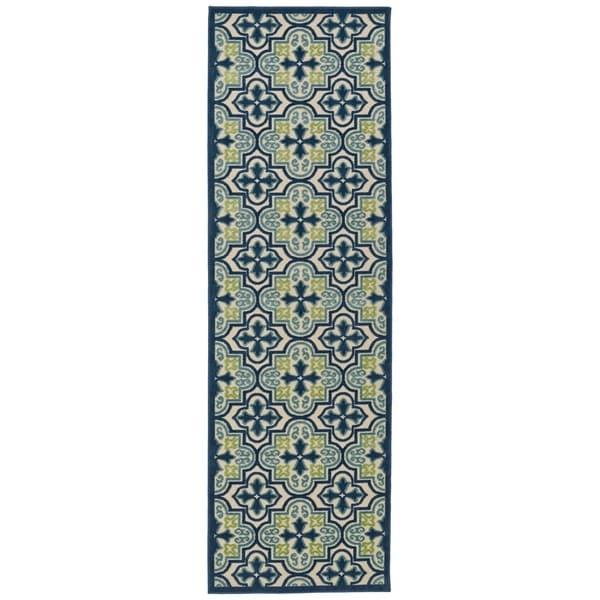 Indoor/Outdoor Luka Blue Tile Rug - 2'6 x 7'10