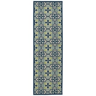 Indoor/Outdoor Luka Blue Tile Rug (2'6 x 7'10)
