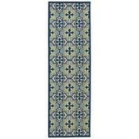 Indoor/Outdoor Luka Blue Tile Rug (2'6 x 7'10)