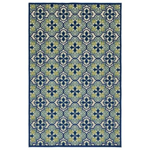 Indoor/Outdoor Luka Blue Tile Rug - 2' x 4'