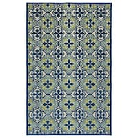 Indoor/Outdoor Luka Blue Tile Rug - 2' x 4'