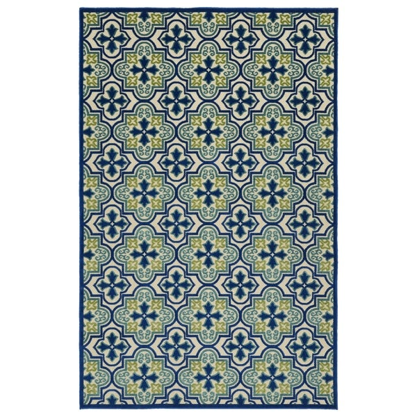 Indoor/Outdoor Luka Blue Tile Rug - 7'10 x 10'8