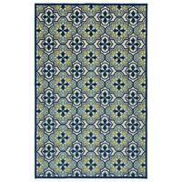 Indoor/Outdoor Luka Blue Tile Rug - 7'10 x 10'8
