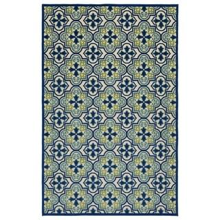 """Indoor/Outdoor Luka Blue Tile Rug - 5' x 7'6"""""""