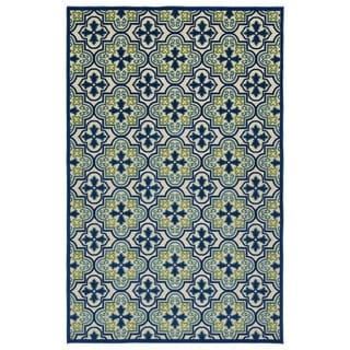 """Indoor/Outdoor Luka Blue Tile Rug - 3'10"""" x 5'8"""""""