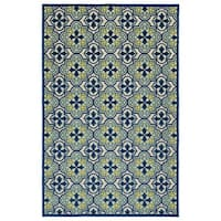 Indoor/Outdoor Luka Blue Tile Rug - 3'10 x 5'7