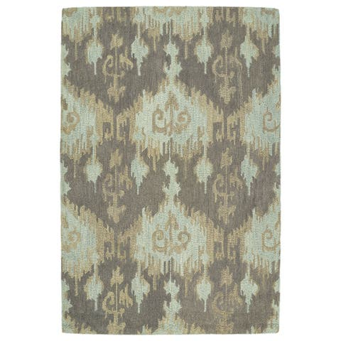 "Manhattan Hand-Tufted Mint Ikat Rug (7'6 x 9'0) - 7'6"" x 9'"