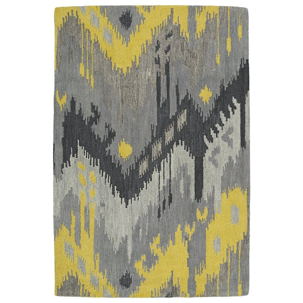 Manhattan Hand Tufted Grey Ikat Rug 5 0 X 7 6 Free
