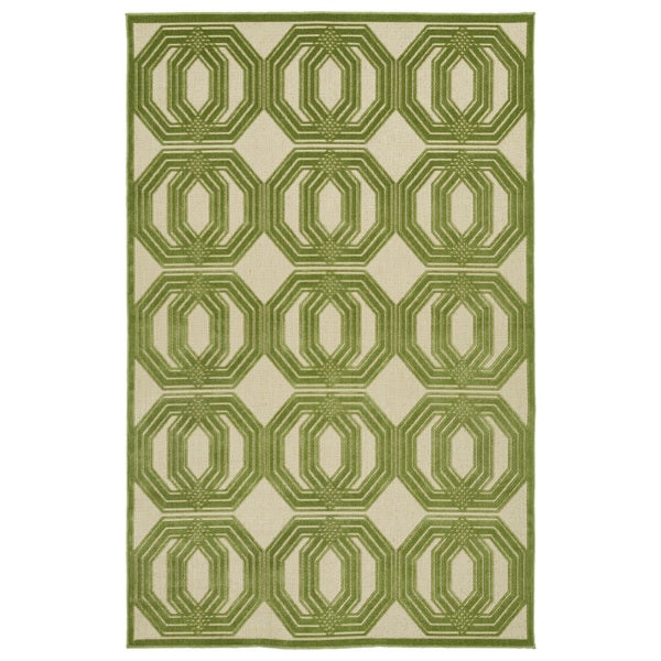 Indoor/Outdoor Luka Green Geo Rug - 7'10 x 10'8