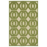 Indoor/Outdoor Luka Green Geo Rug - 5' x 7'6""