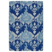 Manhattan Hand-Tufted Blue Ikat Rug (7'6 x 9'0) - 7'6 x 9'