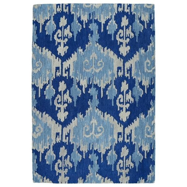 Manhattan Hand-Tufted Blue Ikat Rug (5' x 7'6)