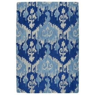 manhattan handtufted blue ikat rug 5u00270 x