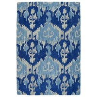 Manhattan Hand-Tufted Blue Ikat Rug - 5' x 7'6""