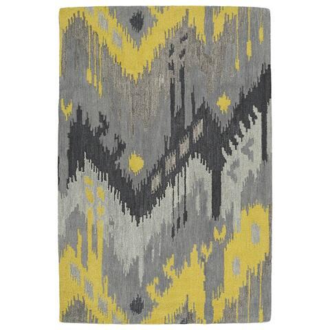 "Manhattan Hand-Tufted Grey Ikat Rug (7'6 x 9'0) - 7'6"" x 9'"