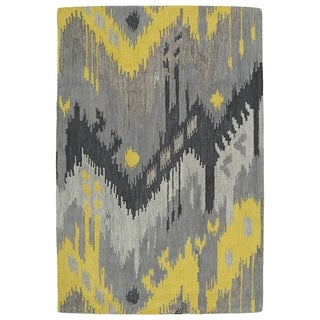 Manhattan Hand-Tufted Grey Ikat Rug (7'6 x 9'0)