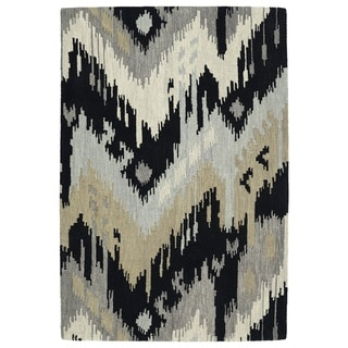 Manhattan Hand-Tufted Black Ikat Rug (2'0 x 3'0)