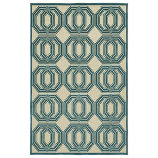 Indoor/Outdoor Luka Blue Geo Rug (8'8 x 12'0)