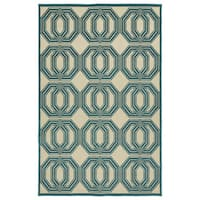 "Indoor/Outdoor Luka Blue Geo Rug - 8'8"" x 12'"