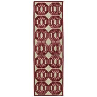 Indoor/Outdoor Luka Red Geo Rug (2'6 x 7'10)