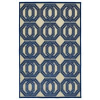 "Indoor/Outdoor Luka Navy Geo Rug - 8'8"" x 12'"