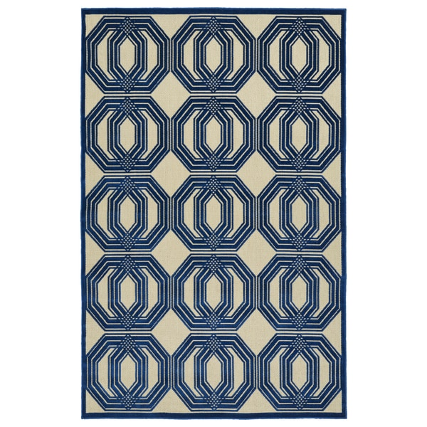 Indoor/Outdoor Luka Navy Geo Rug - 7'10 x 10'8