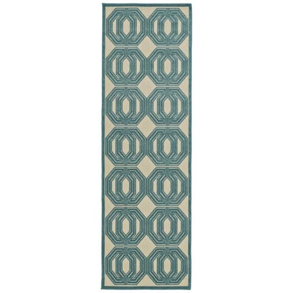 "Indoor/Outdoor Luka Blue Geo Rug - 2'6"" x 7'10"""