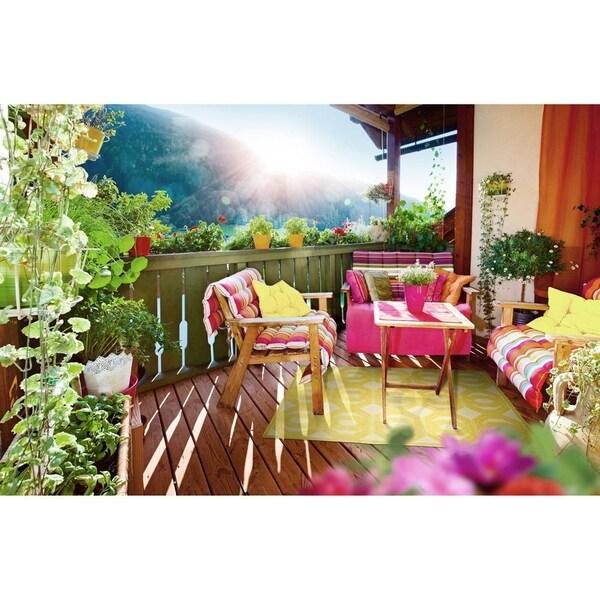 Indoor/Outdoor Luka Gold Geo Rug - 7'10 x 10'8