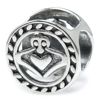 Queenberry Sterling Silver Round Irish Claddagh Celtic Heart w/ Love European Bead Charm