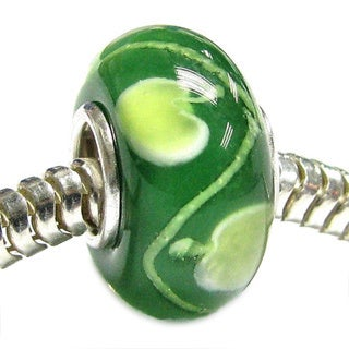 Queenberry Sterling Silver Green Murano Apple Lampwork Glass European Bead Charm