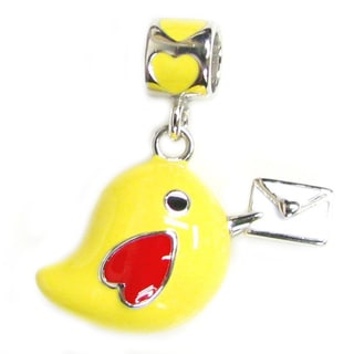 Queenberry Sterling Silver Lovely Yellow Bird Mail Carrier Enamel Dangle European Bead Charm