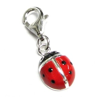 Queenberry Sterling Silver Red Black Ladybug Enamel Dangle European Bead Charm