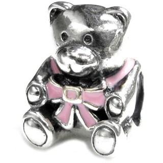 Queenberry Sterling Silver Pink Rose Enamel Teddy Bear Doll Screw-on European Bead Charm