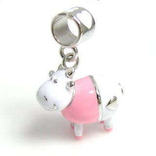 Queenberry Sterling Silver Lovely Smile 3-D Cow w/ Happy Face Pink White Enamel Dangle European Bead Charm