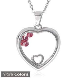 Journee Collection Sterling Silver Cubic Zirconia Birthstone Heart Pendant