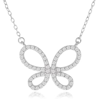 Journee Collection Sterling Silver Micro-pave Cubic Zirconia Butterfly Pendant