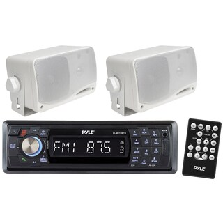 Pyle KTHSP310 In-dash Marine Bluetooth Detachable Face Receiver with Remote and 2 3.5-inch 200W Speakers