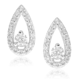 Journee Collection Sterling Silver Cubic Zirconia Teardrop Stud Earrings