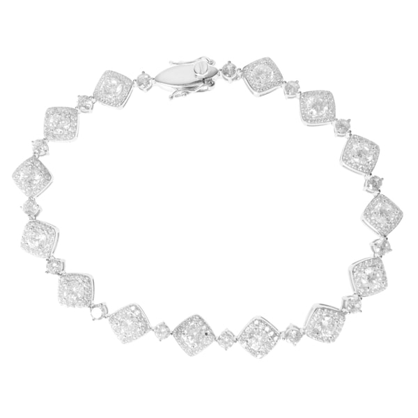 Shop Journee Collection Sterling Silver Square Frame Cubic Zirconia ...