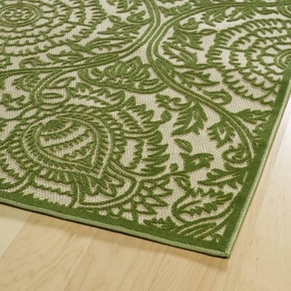 "Indoor/Outdoor Luka Green Zen Rug - 3'10"" x 5'7"""