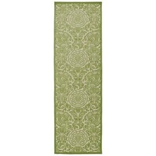 """Indoor/Outdoor Luka Green Zen Rug - 2'6"""" x 7'10"""""""