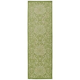 Indoor/Outdoor Luka Green Zen Rug - 2'6 x 7'10