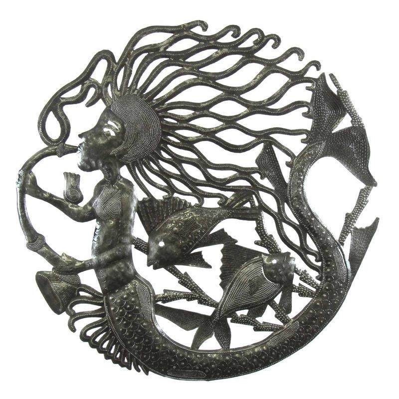 Global Crafts 24-inch Musical Mermaid Metal Wall Art , Ha...