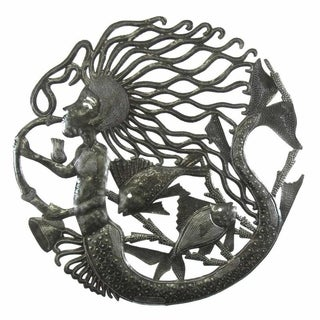 24-inch Musical Mermaid Metal Wall Art , Handmade in Haiti