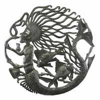 24-inch Musical Mermaid Metal Wall Art  , Handmade in Haiti