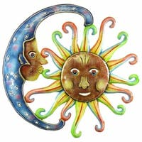 Handmade 24-inch Painted Blue Moon and Sun Metal Wall Art (Haiti)
